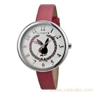 Montre Playboy Cadran rond Bunny lauriers rose